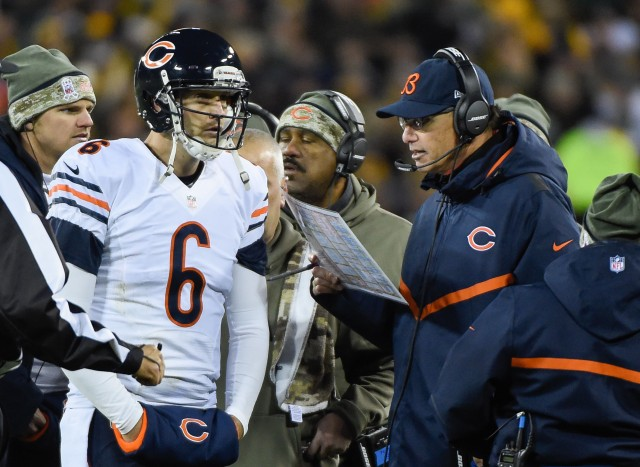Chicago Bears quarterback Jay Cutler (6) talks to head coach Marc Trestman in the second quarter during the game against the Green Bay Packers. (Benny Sieu-USA TODAY Sports)
