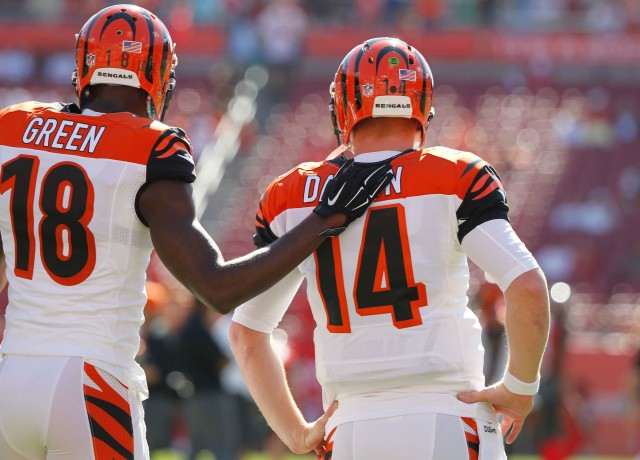 Cincinnati Bengals wide receiver A.J. Green (18) and quarterback Andy Dalton. (Kim Klement-USA TODAY Sports)