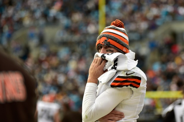 Johnny Manziel's season came to an end Sunday in Charlotte. (Bob Donnan, USA TODAY Sports)