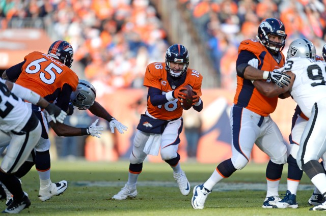 Peyton Manning and the Broncos had no trouble with the Raiders. (Ron Chenoy, USA TODAY Sports)