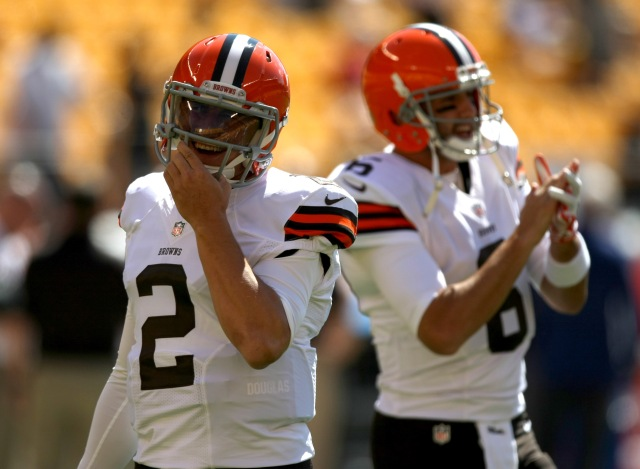 Cleveland Browns quarterback Johnny Manziel (2) and quarterback Brian Hoyer (6) during warm-ups against the Pittsburgh Steelers. (Jason Bridge-USA TODAY Sports)