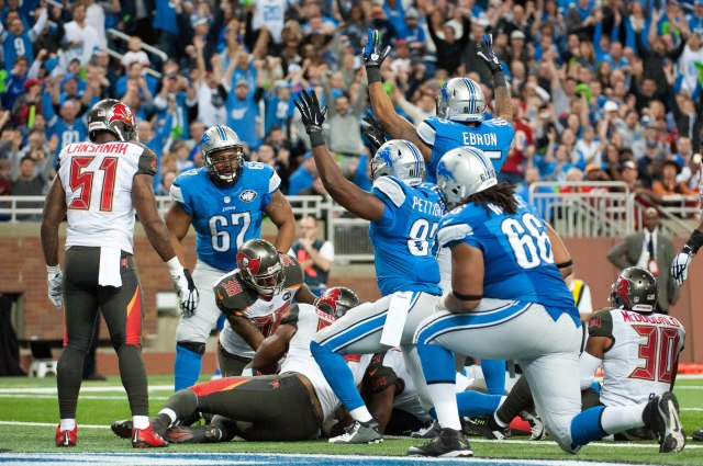 Detroit Lions celebrate running back Joique Bell (35) touchdown during the second quarter against the Tampa Bay Buccaneers. (Tim Fuller-USA TODAY Sports)