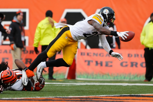 Pittsburgh Steelers running back Le'Veon Bell (26) scores a touchdown in the second half against the Cincinnati Bengals. (Aaron Doster-USA TODAY Sports)