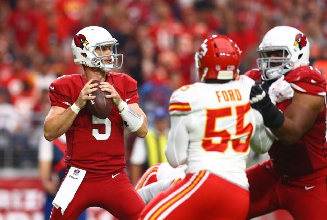 Arizona Cardinals quarterback Drew Stanton (5) drops back to pass in the first quarter against the Kansas City Chiefs. (Mark J. Rebilas-USA TODAY Sports)