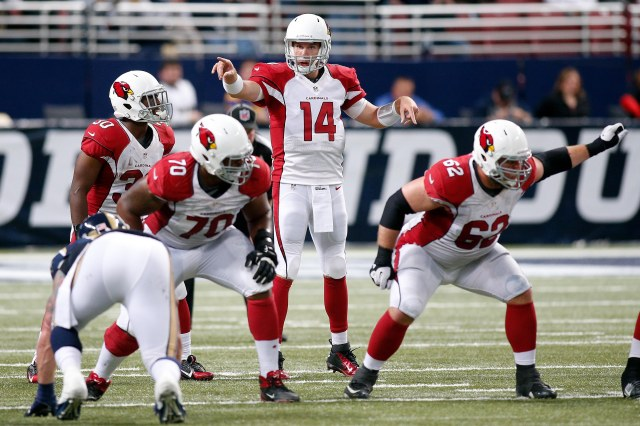 Arizona Cardinals quarterback Ryan Lindley (14) prepares to go to center during the fourth quarter of a football game against the St. Louis Rams. (Scott Kane-USA TODAY Sports)