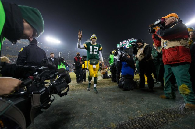 Green Bay Packers quarterback Aaron Rodgers (12)following the game against the Atlanta Falcons. (Jeff Hanisch-USA TODAY Sports)