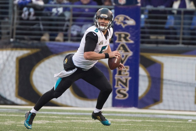 Jacksonville Jaguars quarterback Blake Bortles (5) looks to pass on the run during the fourth quarter against the Baltimore Ravens. (Tommy Gilligan-USA TODAY Sports)