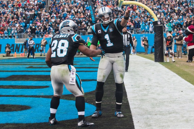 Carolina Panthers running back Jonathan Stewart (28) celebrates with quarterback Cam Newton (1) after scoring a touchdown. (Jeremy Brevard-USA TODAY Sports)