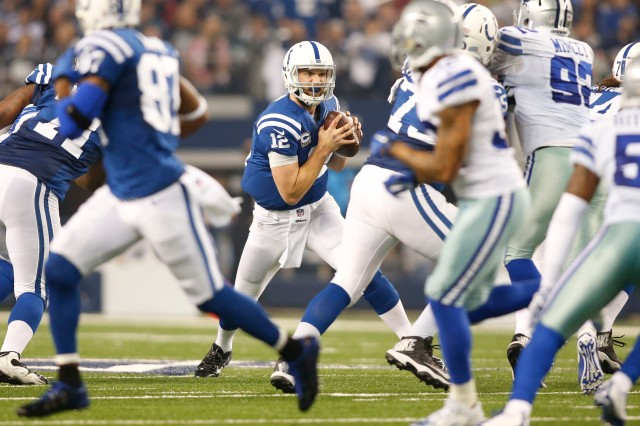 Indianapolis Colts quarterback Andrew Luck (12) scrambles during the game against the Dallas Cowboys. (Tim Heitman-USA TODAY Sports)