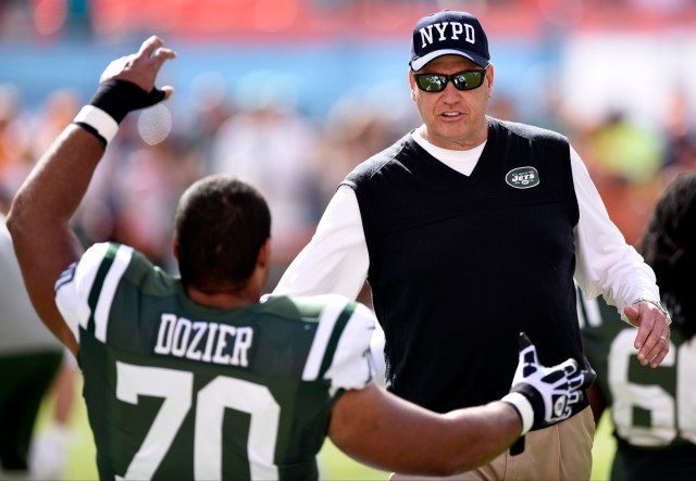 New York Jets head coach Rex Ryan greets tackle Dakota Dozier (70) prior to the game against the Miami Dolphins. (Brad Barr-USA TODAY Sports)