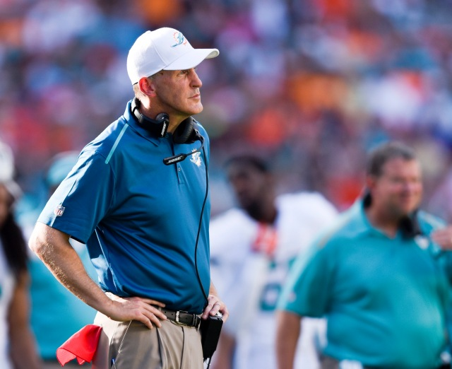 Miami Dolphins head coach Joe Philbin reacts in the second half at Sun Life Stadium. The Jets defeated Miami 37-24. (Brad Barr-USA TODAY Sports)