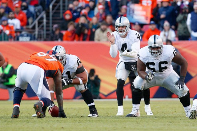 Oakland Raiders quarterback Derek Carr (4) calls for a snap from center Stefen Wisniewski (61) in the second quarter against the Denver Broncos. (Isaiah J. Downing-USA TODAY Sports)