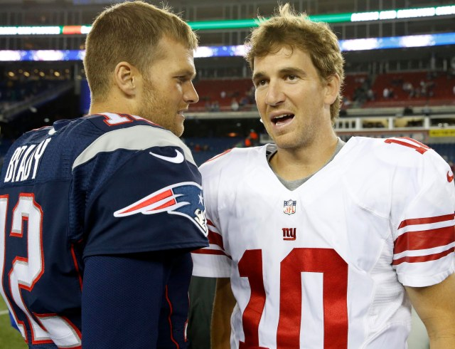 Tom Brady, left, and Eli Manning will reprise their Super Bowl history in the 2015 regular season. (David Butler II, USA TODAY Sports )