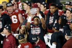 Florida State celebrated in the Rose Bowl after winning last year's national championship. (Kelvin Kuo, USA TODAY Sports)