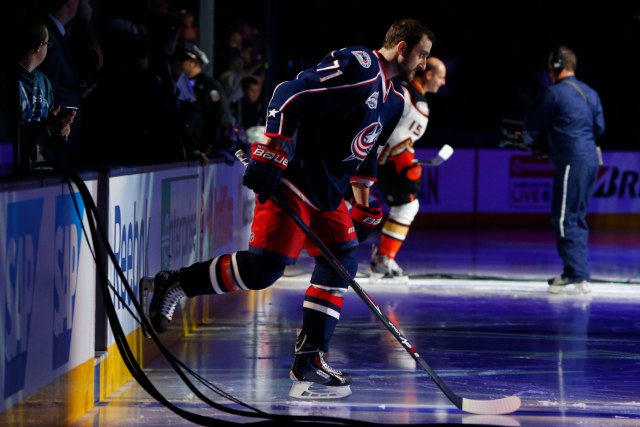 Columbus' Nick Foligno skates onto the ice.