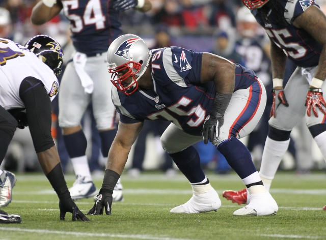 New England Patriots defensive tackle Vince Wilfork (75) lines up against the Baltimore Ravens in the first quarter of the 2013 AFC Championship Game. (Stew Milne-USA TODAY Sports)