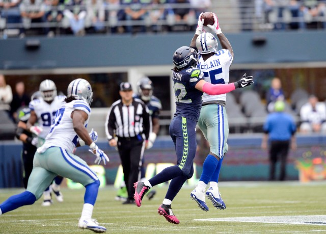 Dallas Cowboys middle linebacker Rolando McClain (55) intercepts the ball intended for Seattle Seahawks tight end Luke Willson (82). (Steven Bisig-USA TODAY Sports)