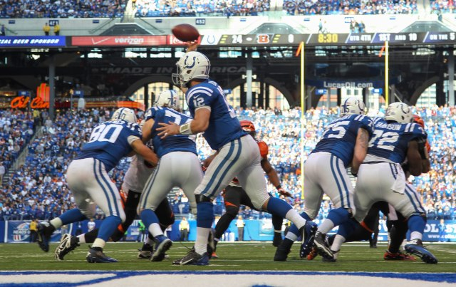 Indianapolis Colts quarterback Andrew Luck (12) throws a pass against the Cincinnati Bengals. (Brian Spurlock-USA TODAY Sports)