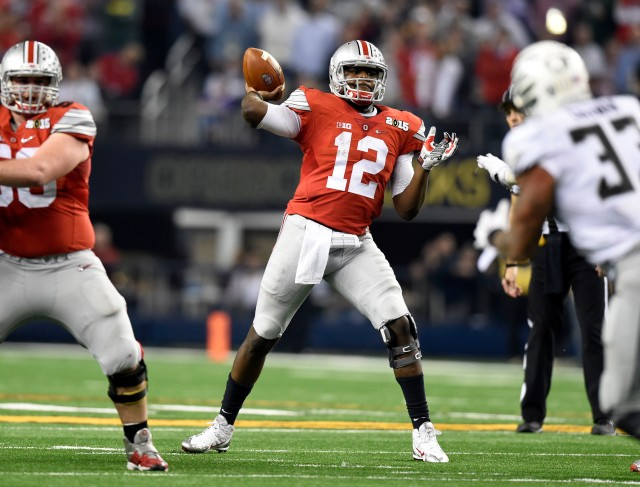 Ohio State Buckeyes quarterback Cardale Jones (12) throws a pass during the fourth quarter against the Oregon Ducks. (Tommy Gilligan-USA TODAY Sports)