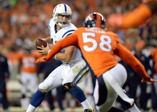 Colts QB Andrew Luck couldn't lead his team out of a first-half hole in Denver in Week 1 of the 2014 season. (Ron Chenoy, USA TODAY Sports)