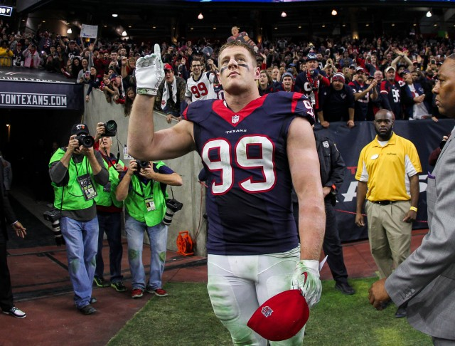 Texans DE J.J. Watt is our unanimous choice for defensive player of the year. But can he bring home some MVP votes? (Troy Taormina, USA TODAY Sports)