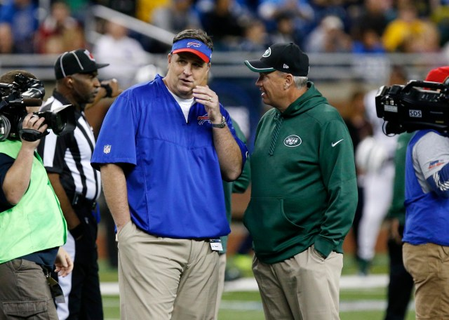 Former Jets coach Rex Ryan, right, is slated to be Doug Marrone's successor in Buffalo. (Kevin Hoffman, USA TODAY Sports)