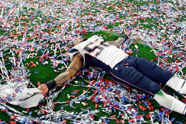 Patriots linebacker Jonathan Casillas celebrates the championship. (Matthew Emmons, USA TODAY Sports)