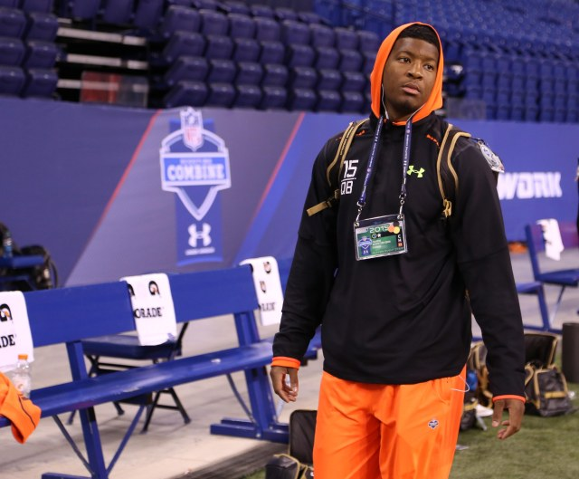 Scouts will watch Jameis Winston's shoulder carefully today. (Brian Spurlock, USA TODAY Sports)