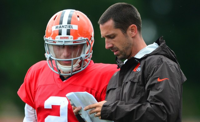 Johnny Manziel, left, is in rehab. Kyle Shanahan is in Atlanta. (Andrew Weber, USA TODAY Sports)