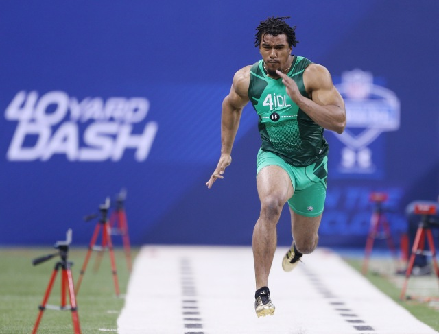 Vic Beasley's combine performance will earn him a lot of money. (Brian Spurlock-USA TODAY Sports)