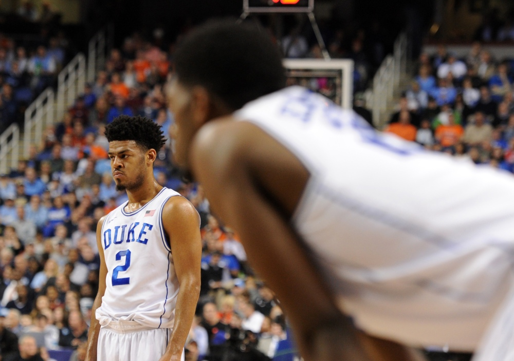 Duke Blue Devils guard Quinn Cook (2) and forward Amile Jefferson (21). (Evan Pike, USA TODAY Sports)