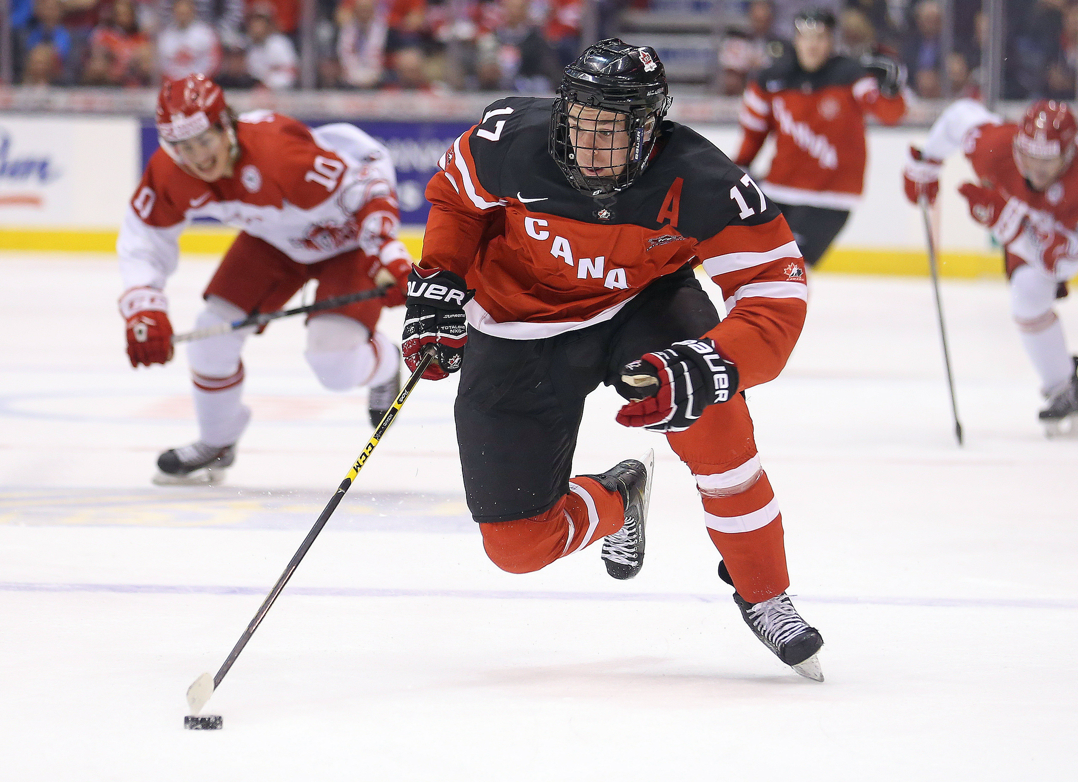 TORONTO, ON - JANUARY 2:  Connor McDavid #17 of Team Canada breaks away for a goal against Team Denmark during a quarter-final game in the 2015 World Junior Hockey Championship at the Air Canada Centre on January 2, 2015 in Toronto, Ontario, Canada. Team Canada defeated Team Denmark 8-0. (Photo by Claus Andersen/Getty Images) ORG XMIT: 522141593 [Via MerlinFTP Drop]