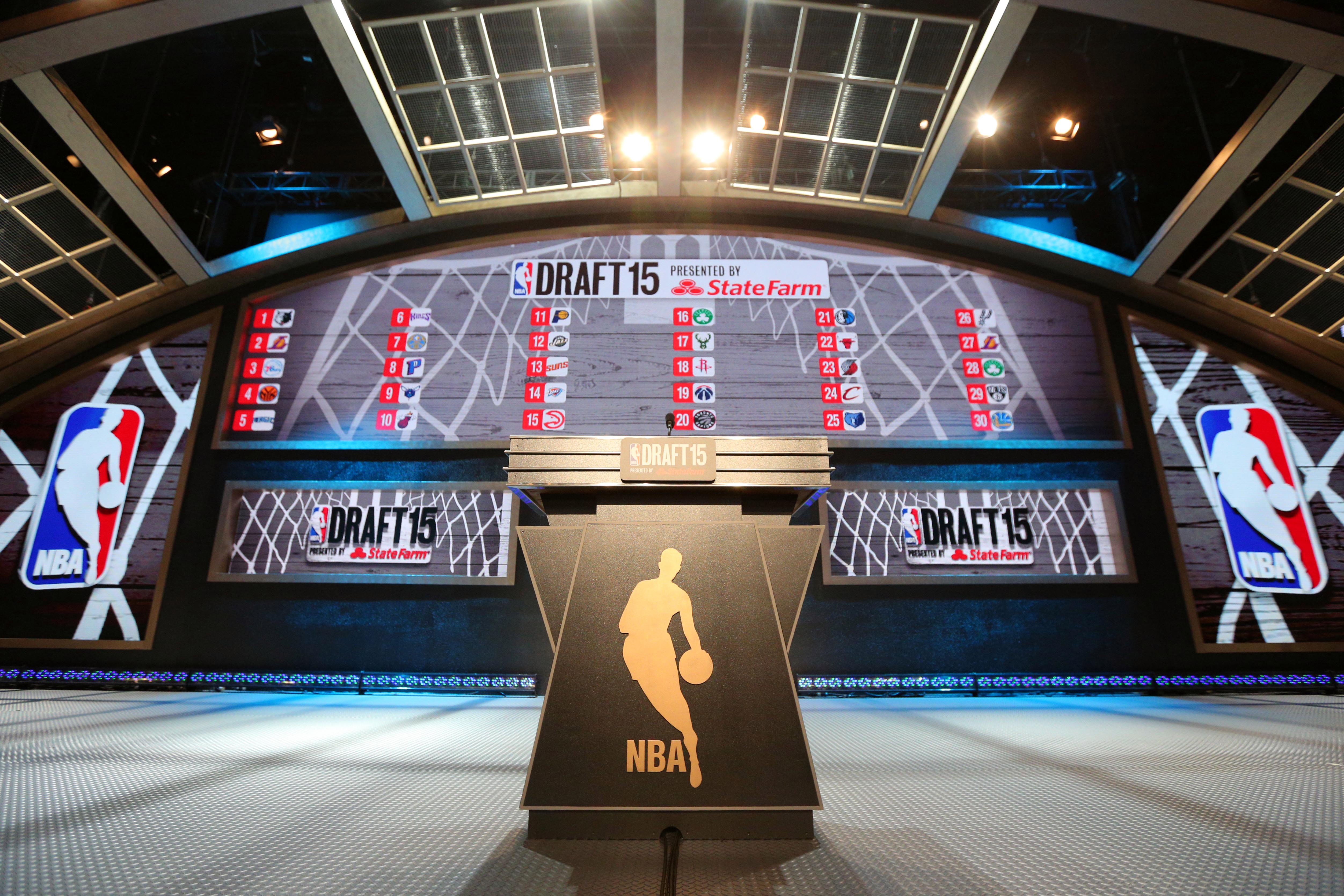 Jun 25, 2015; Brooklyn, NY, USA; General view of the stage before the start of the 2015 NBA Draft at Barclays Center. Mandatory Credit: Brad Penner-USA TODAY Sports ORG XMIT: USATSI-225610 ORIG FILE ID:  20150625_pjc_ae5_083.JPG