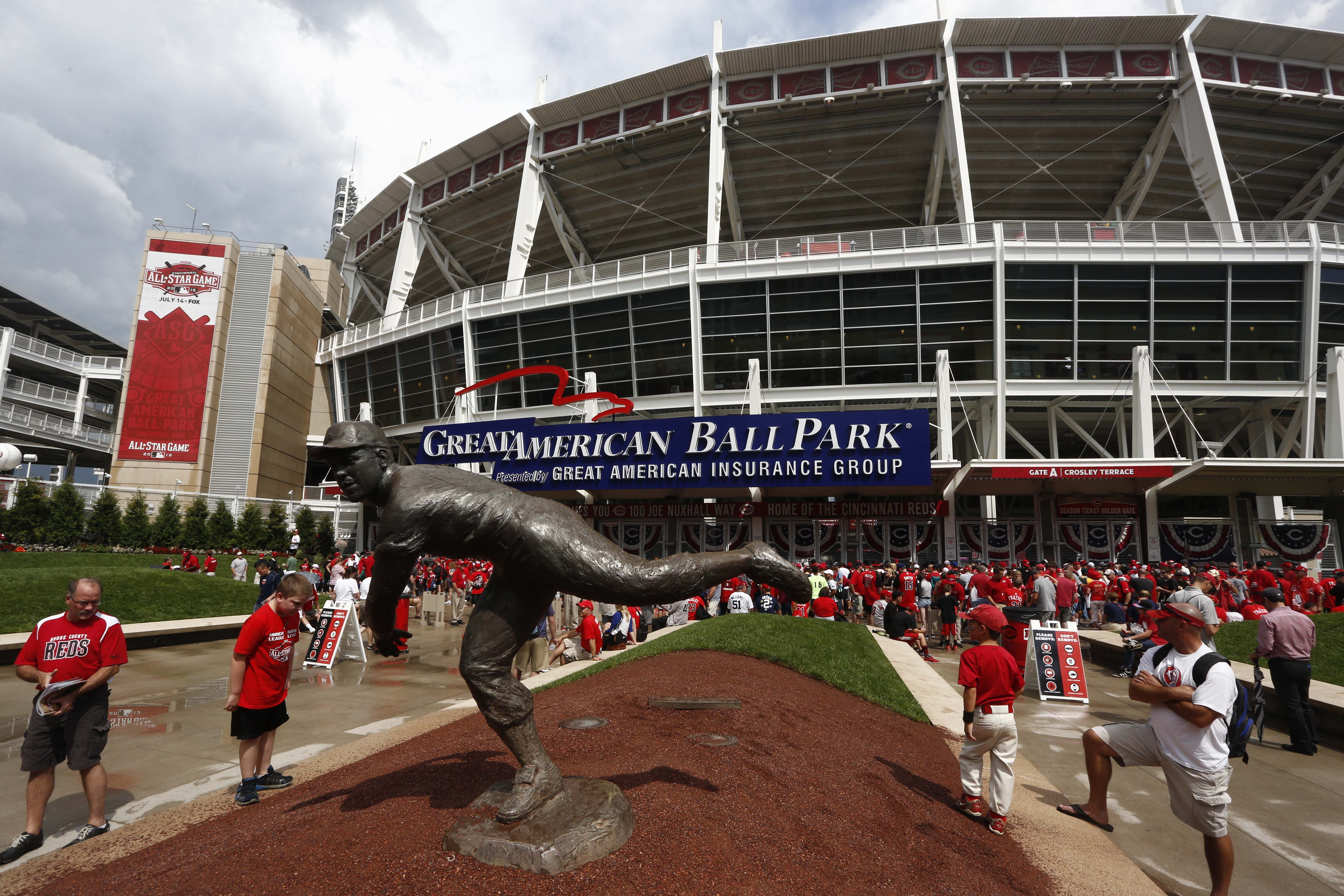 Jul 14, 2015; Cincinnati, OH, USA; General view outside of Great American Ball Park prior to the 2015 MLB All Star Game. Mandatory Credit: David Kohl-USA TODAY Sports