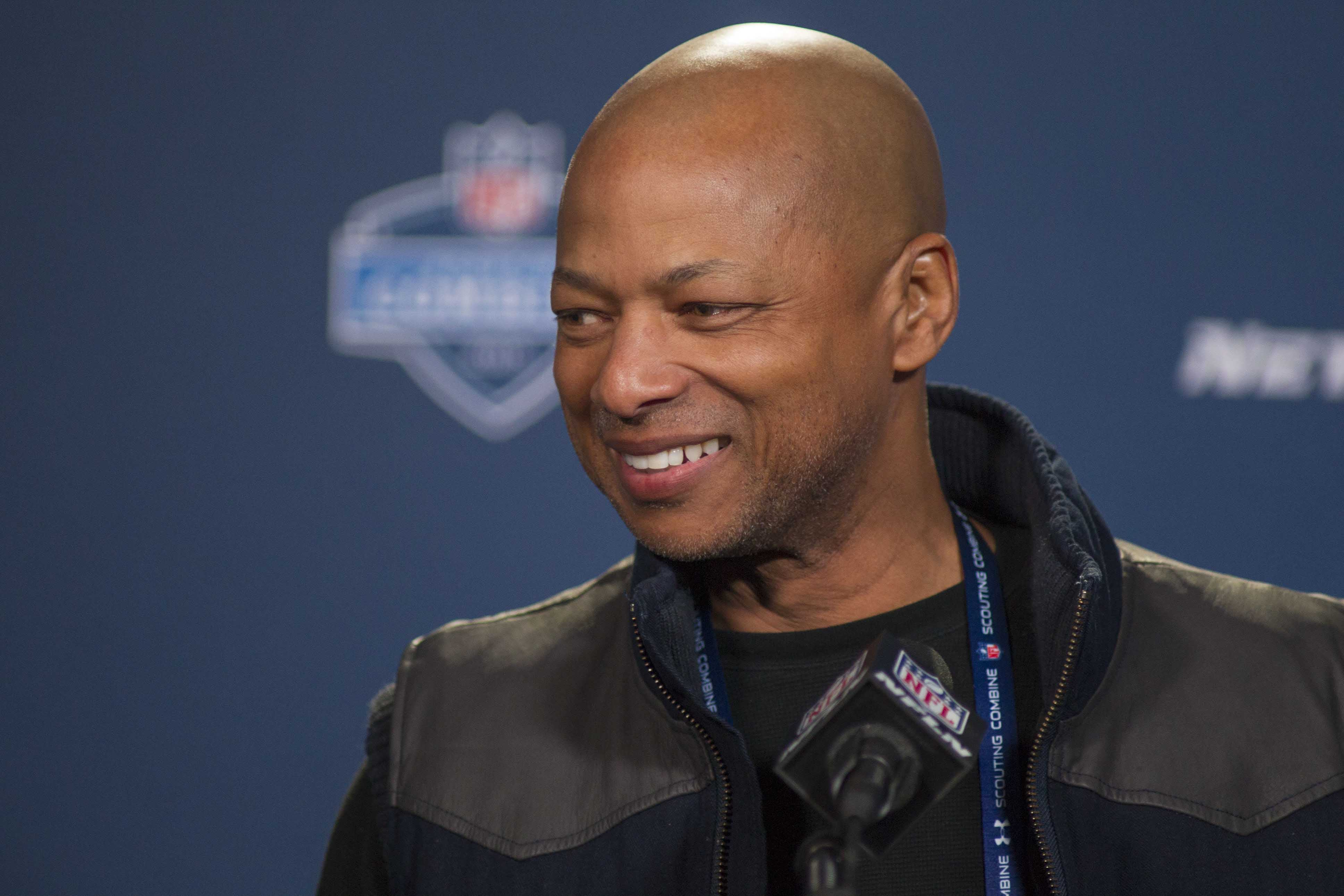 Feb 21, 2015; Indianapolis, IN, USA; New York Giants general manager Jerry Reese speaks to the media at the 2015 NFL Combine at Lucas Oil Stadium. Mandatory Credit: Trevor Ruszkowski-USA TODAY Sports