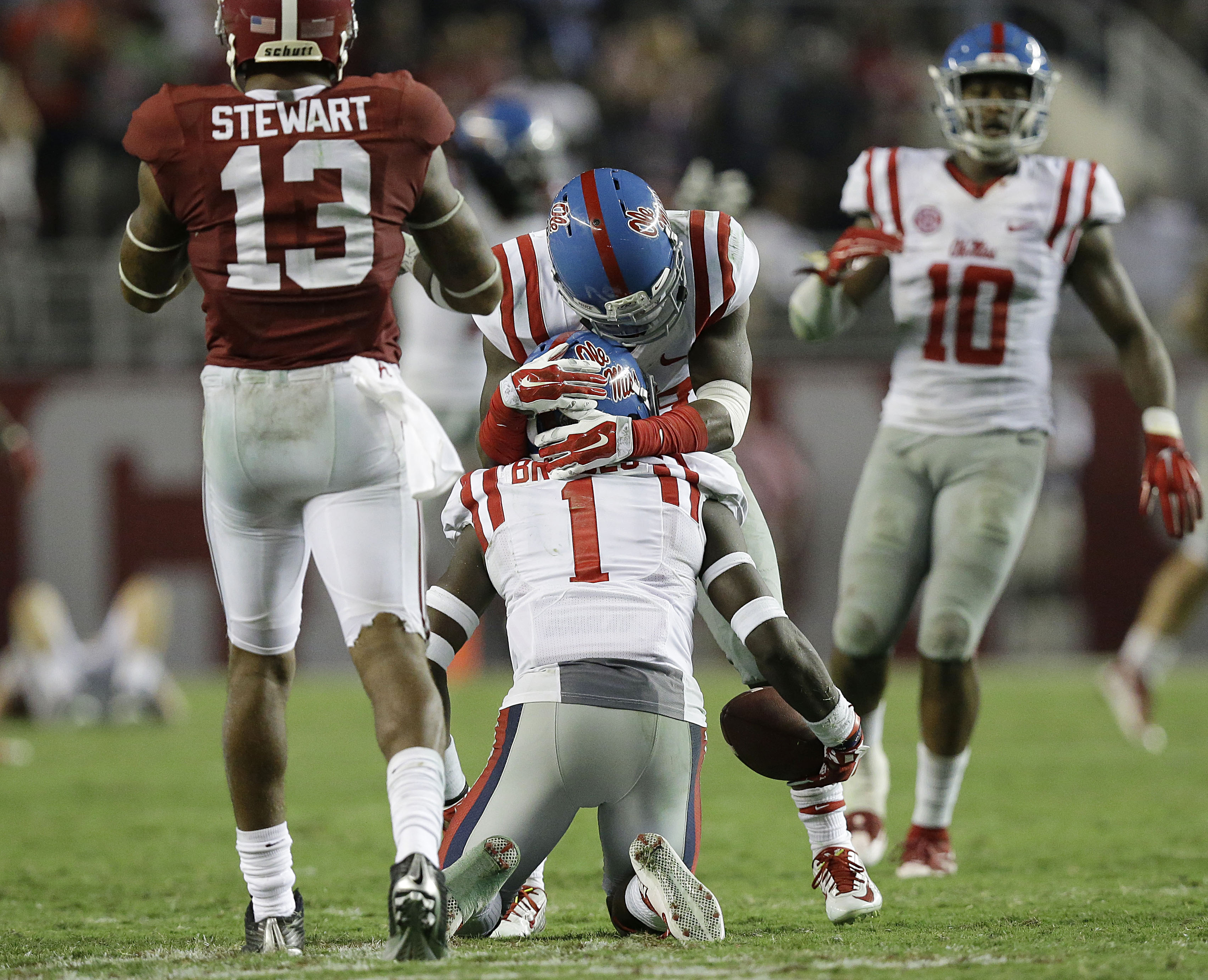 Mississippi beat Alabama for the second consecutive season. (Brynn Anderson, AP)