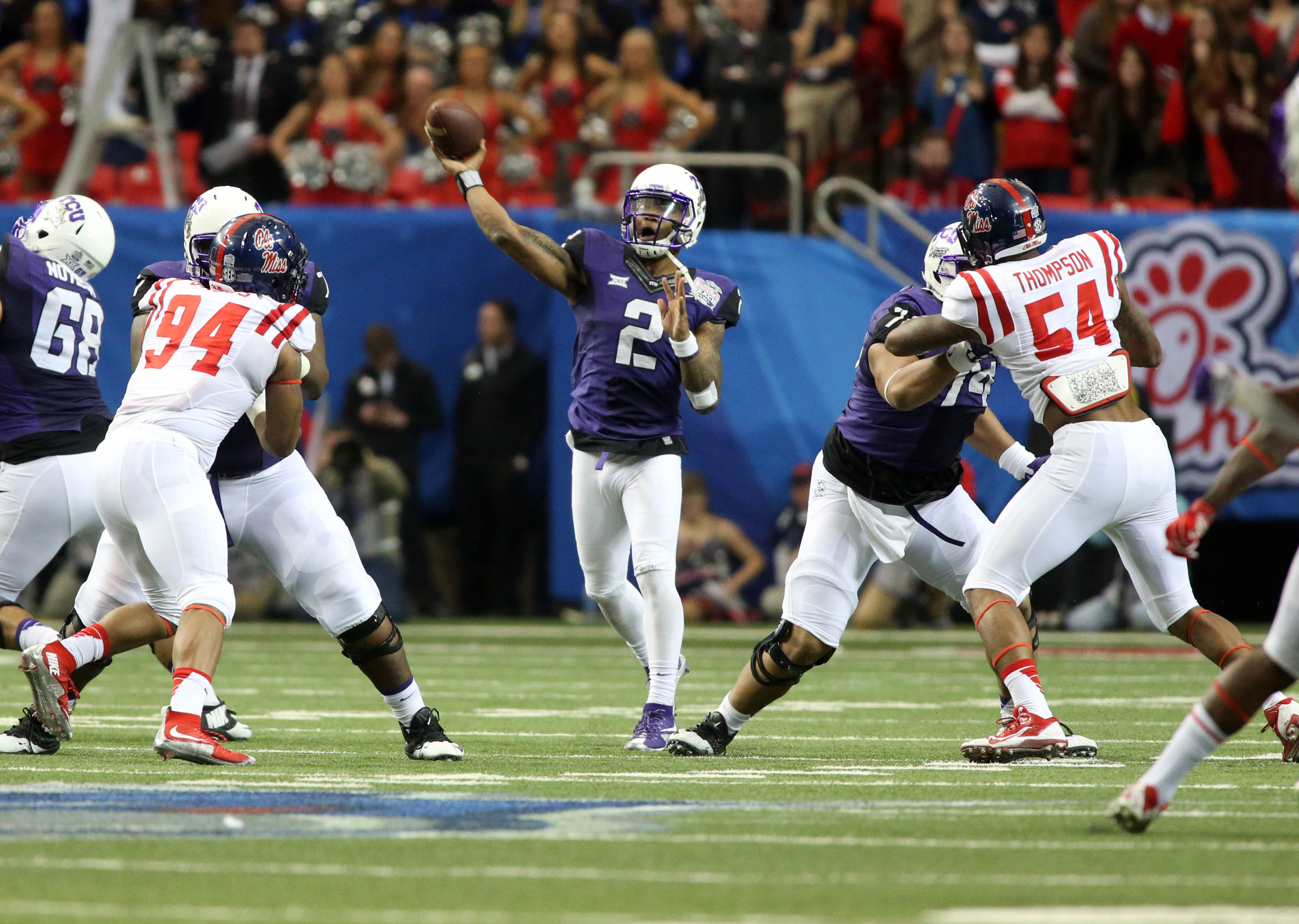 Dec 31, 2014; Atlanta , GA, USA; TCU Horned Frogs quarterback Trevone Boykin (2) throws the ball in the third quarter against the Mississippi Rebels in the 2014 Peach Bowl at the Georgia Dome. Mandatory Credit:ORG XMIT: USATSI-212012 ORIG FILE ID: 20141231_rvr_gb1_094.jpg