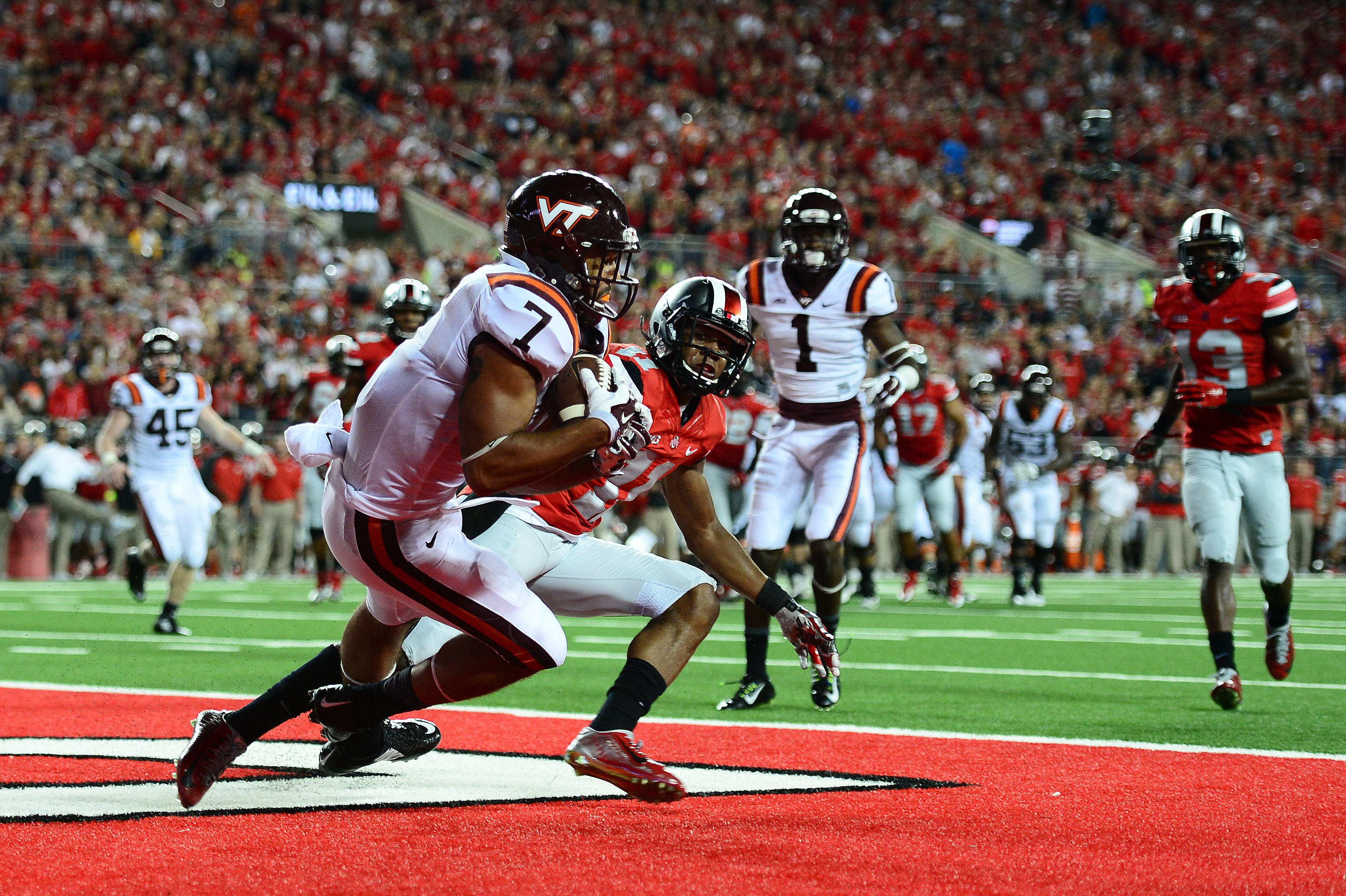 Virginia Tech tight end Bucky Hodges catches a pass in the end zone for a touchdown against Ohio State.