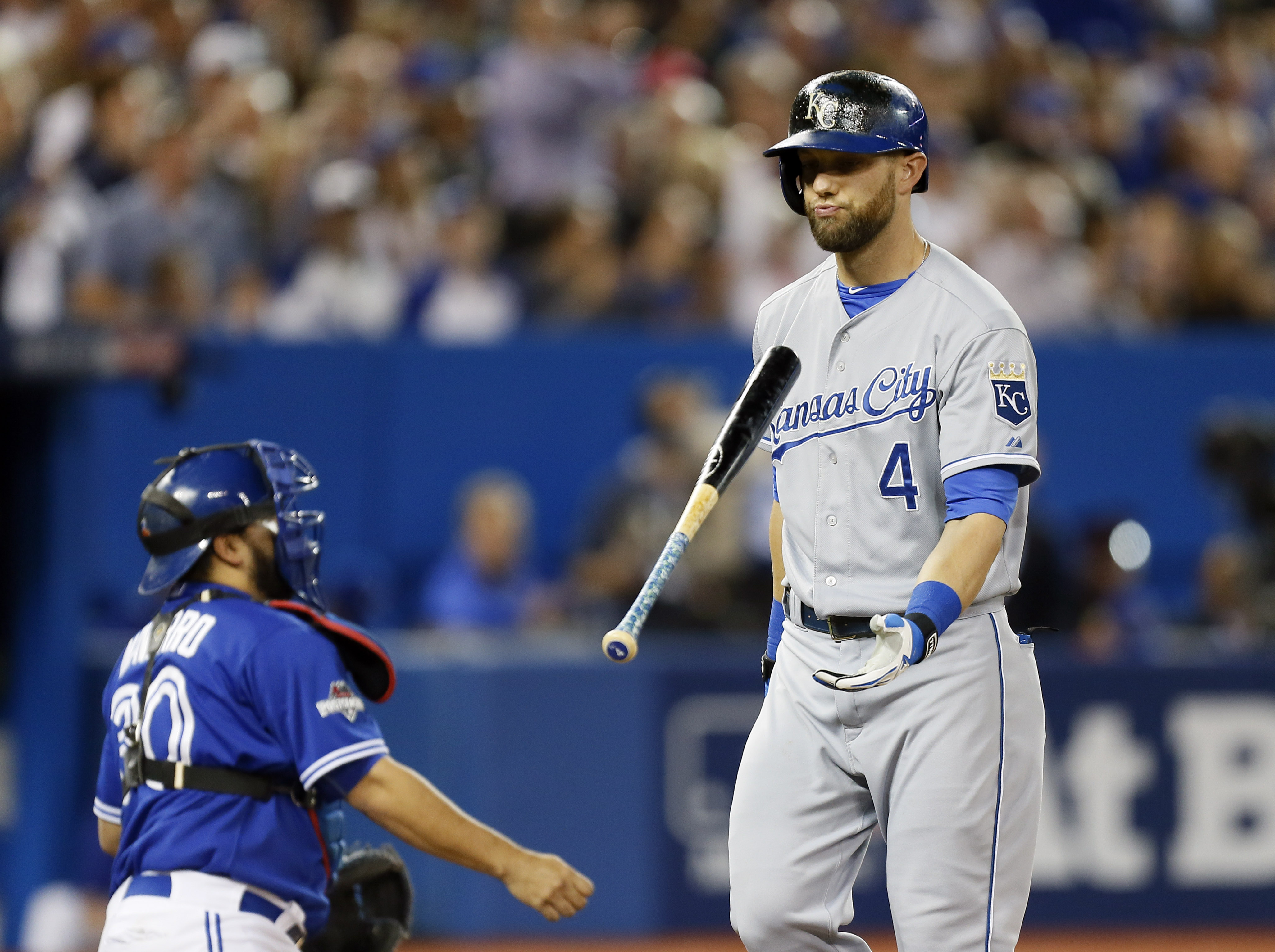 The Royals' Alex Gordon, above, reacts after striking out during the fourth inning against Marco Estrada of the Blue Jays during Game 5 of the ALCS. (John E. Sokolowski-USA TODAY Sports)