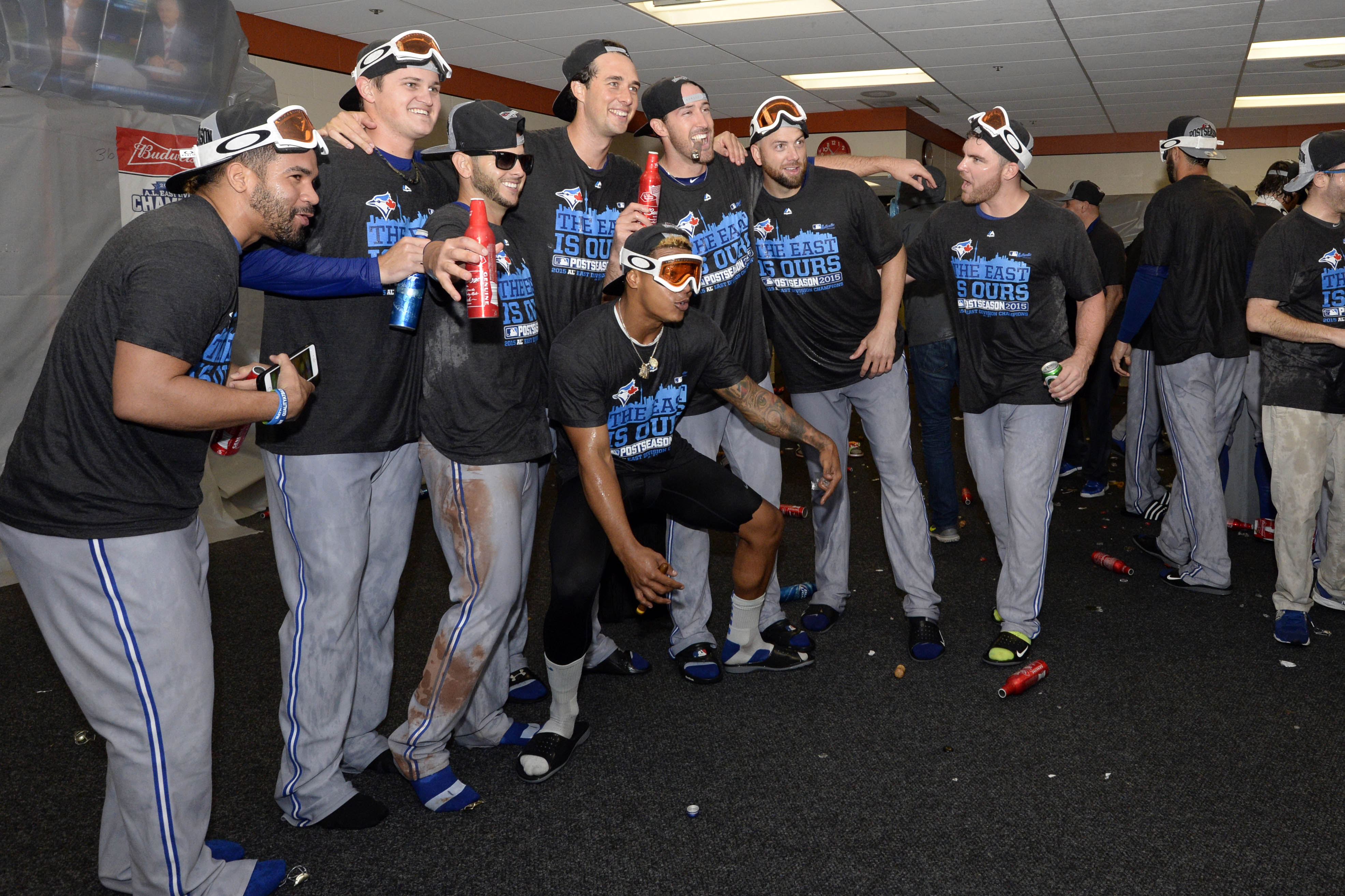 The Blue Jays celebrate winning the A.L. East division.