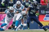 Seahawks RB Marshawn Lynch (24) is expected to return Sunday to be greeted by Panthers MLB Luke Kuechly (59). (Joe Nicholson, USA TODAY Sports)