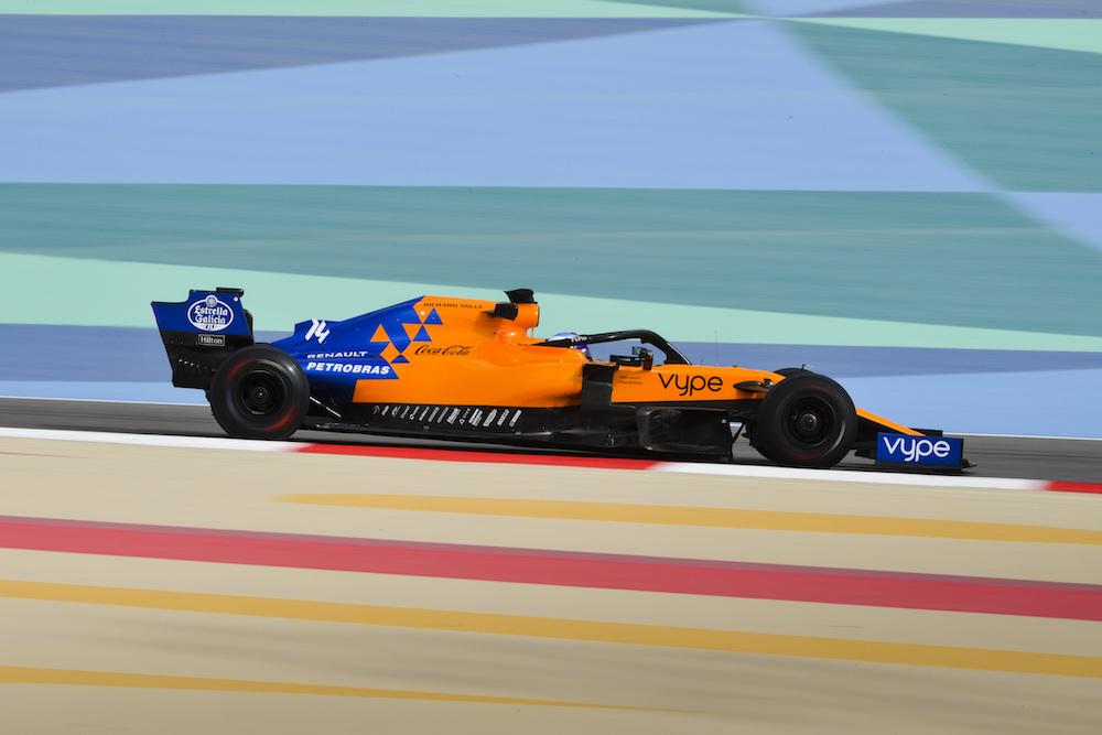 Alonso testing the McLaren in Bahrain
