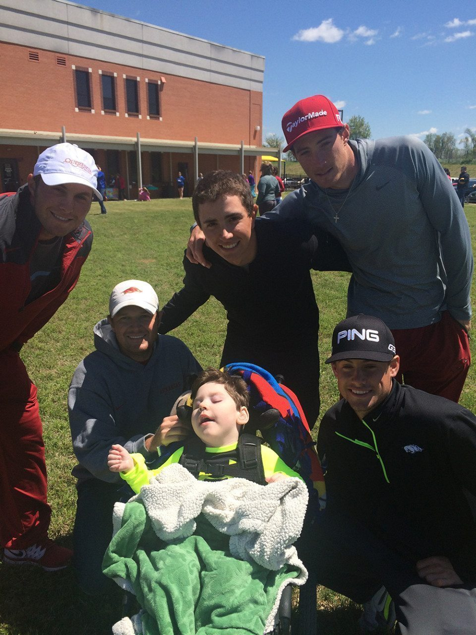 KidsFirst (Lowell, Ark.) Special Olympics with Arkansas men's golf team volunteers. From left- Zach Coats, Barrett Lais, Hudson Lais, Nicolas Echavarria, Kolton Crawford and Taylor Moore