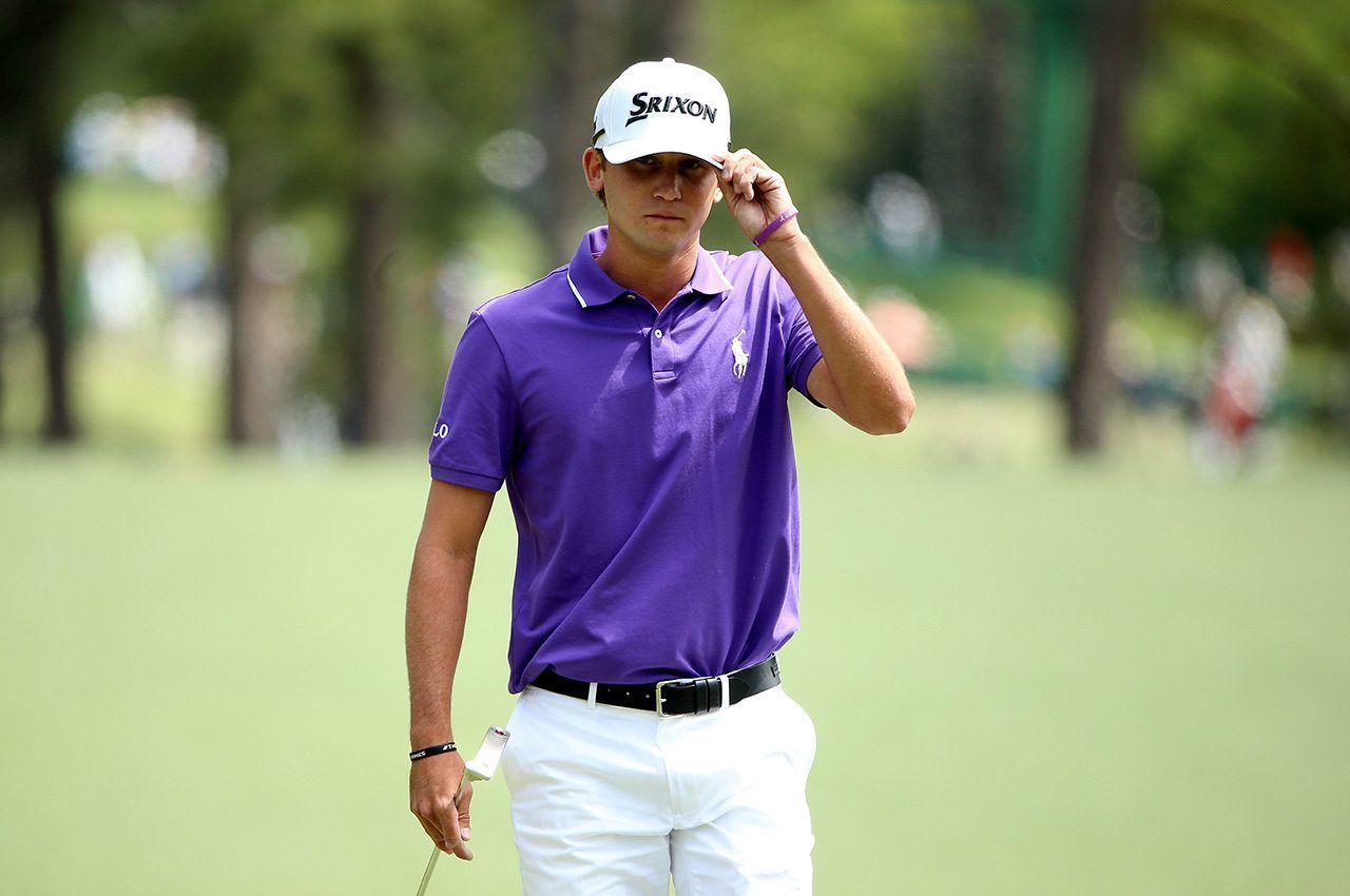 Smylie Kaufman reacts on the first hole during the final round of the 2016 Masters Tournament at Augusta National Golf Club.