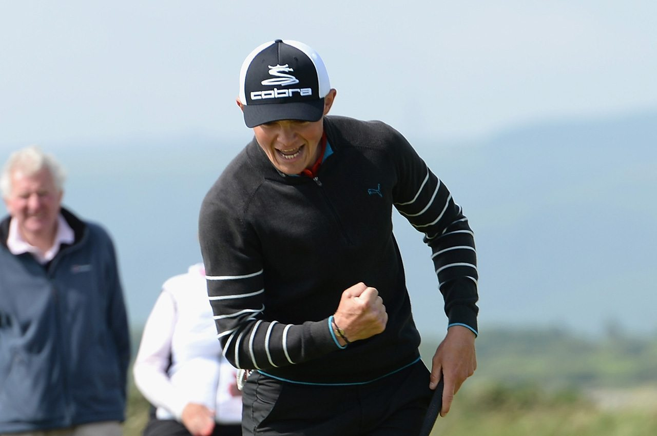 Scott Gregory celebrates winning the 2016 British Amateur on the 17th hole Saturday at Royal Porthcawl.