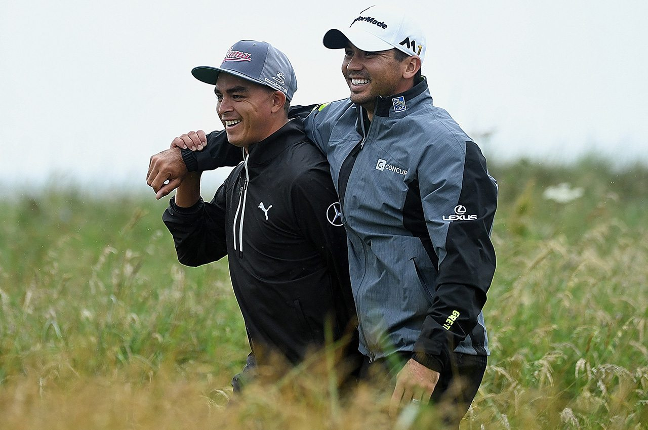 Rickie Fowler and ason Day walk down the 3rd hole during the second round of the British Open. (Getty Images)