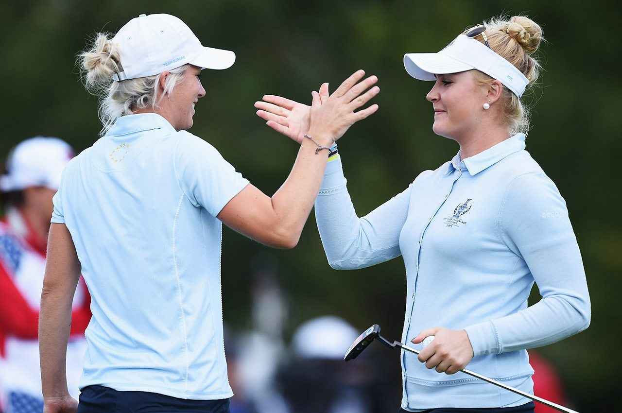 Melissa Reid and Charley Hull, shown at the 2015 Solheim Cup