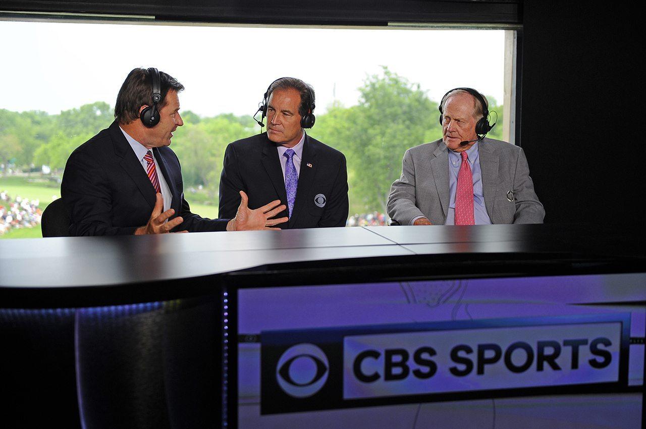 CBS' Nick Faldo (far left) and Jim Nantz (center) chat with Jack Nicklaus.