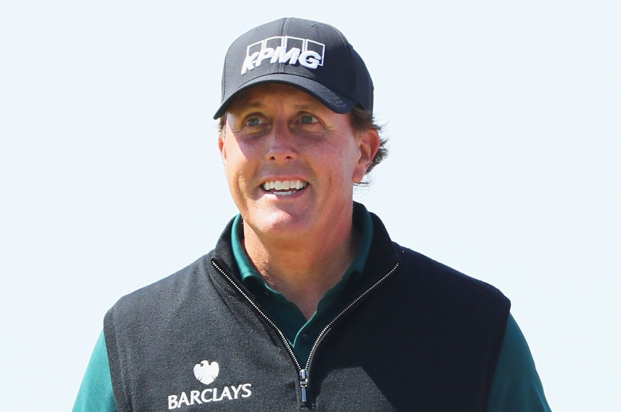 TROON, SCOTLAND - JULY 14: Phil Mickelson of the United States smiles on the sixth hole during the first round on day one of the 145th Open Championship at Royal Troon on July 14, 2016 in Troon, Scotland. (Photo by Andrew Redington/Getty Images)