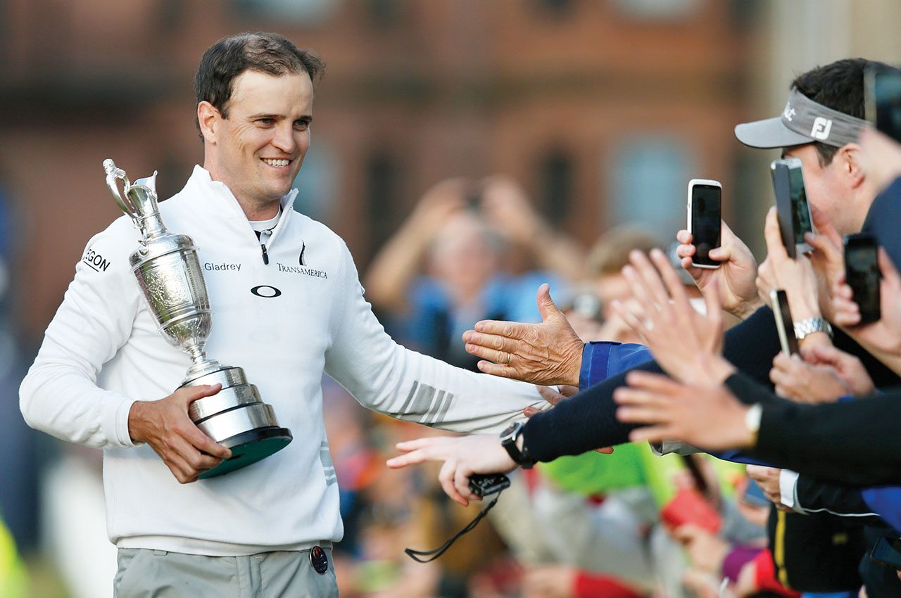 Zach Johnson celebrates winning the British Open at the Old Course, St. Andrews, Scotland.